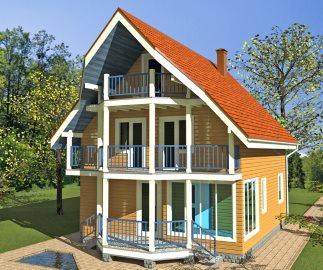 Проект двухэтажного каркасного дома с верандой и балконом