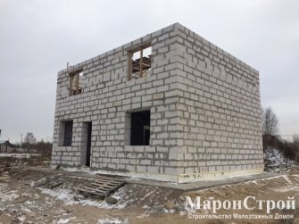 Кладка стен второго этажа дома из газоблока «Эко» фото 2