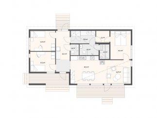 План проекта финского каркасного дома в 1 этаж «МС-100»