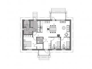 План проекта финского каркасного дома в 1 этаж для ПМЖ «МС-117»